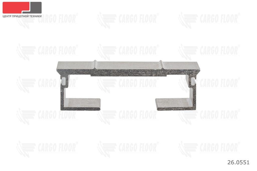 Алюминиевый профиль 10/112/13300 мм. (DS) с двумя рёбрами жёсткости и пазами для силиконового уплотнителя