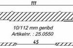 Алюминиевый профиль 10/112/13300 мм. с двумя рёбрами жёсткости и пазом для силиконового уплотнителя